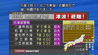 【シミュレーション】東南海地震→大津波警報→津波観測