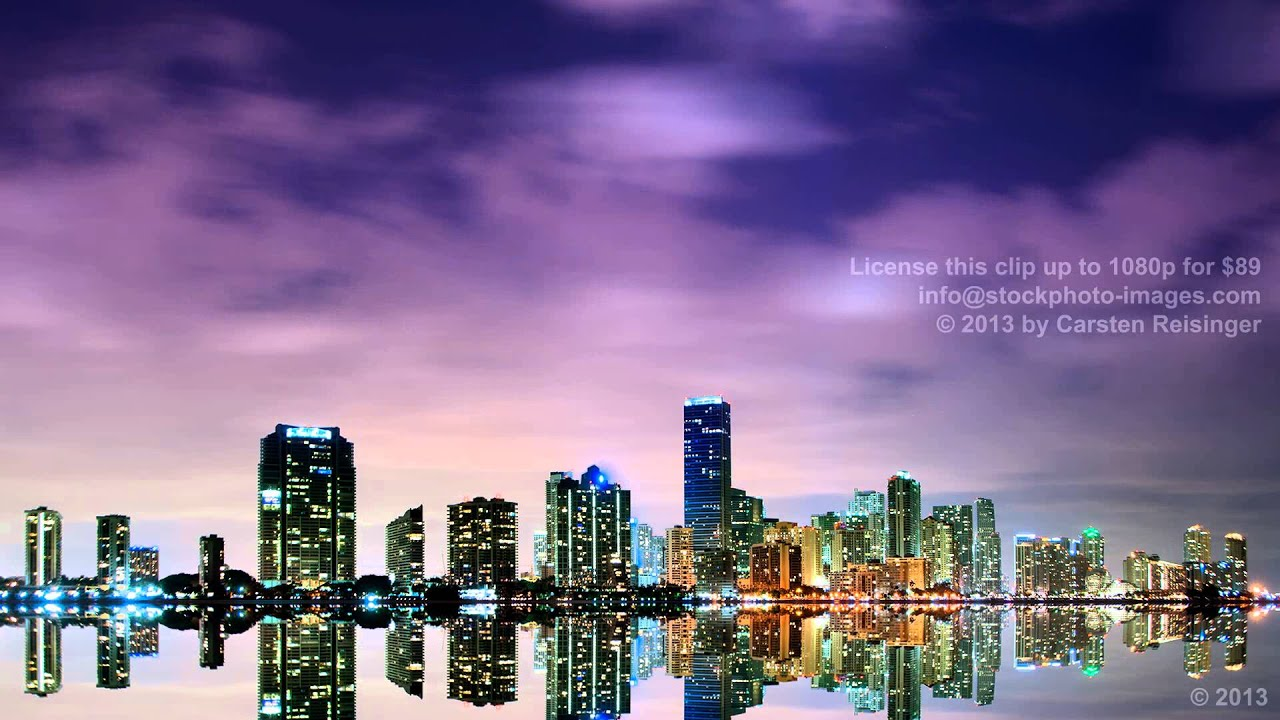 hd stock footage miami skyline time lapse with vivid colors youtube. Black Bedroom Furniture Sets. Home Design Ideas