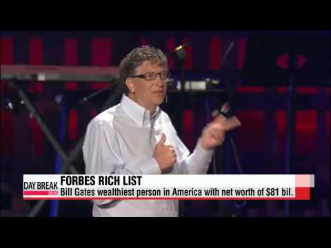 Bill Gates wealthiest person in America with net worth of $81 bil.: Forbes   빌게이