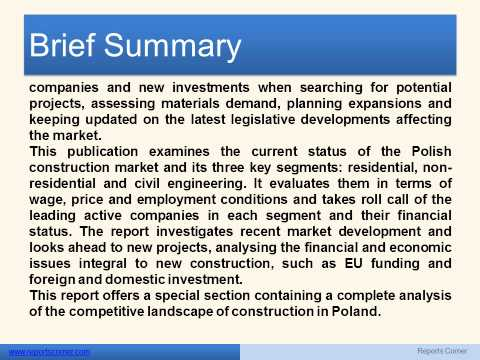 Construction sector in Poland H1 2013 - Reports Corner