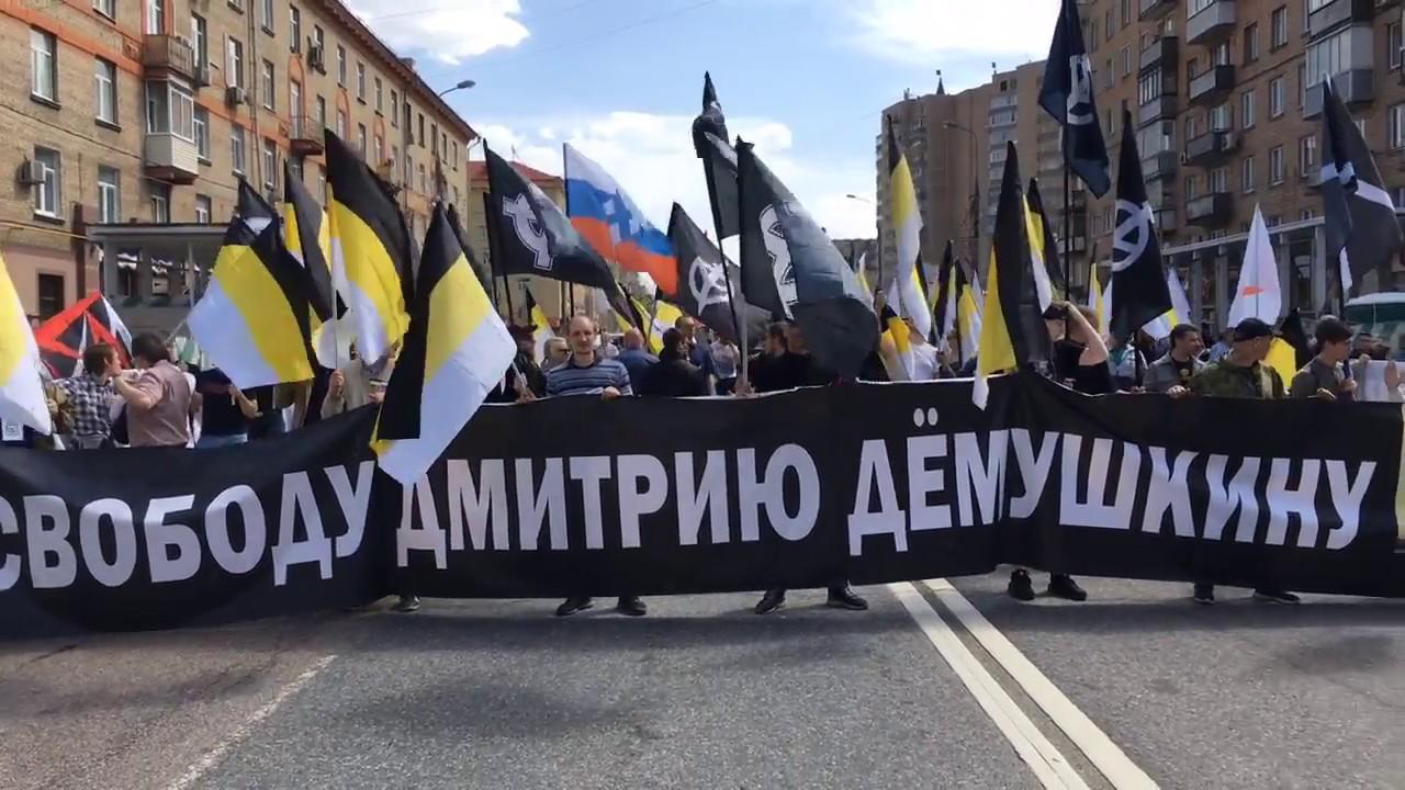В Москве националисты устроили шествие в поддержку Дмитрия Демушкина с призывами к революции