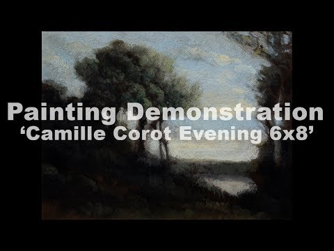 Study after: Camille Corot Evening 6×8 Tonalist Landscape Oil Painting