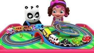 Pinky and Panda Fun Play with Toy Street Vehicles -  Learning Colors Videos