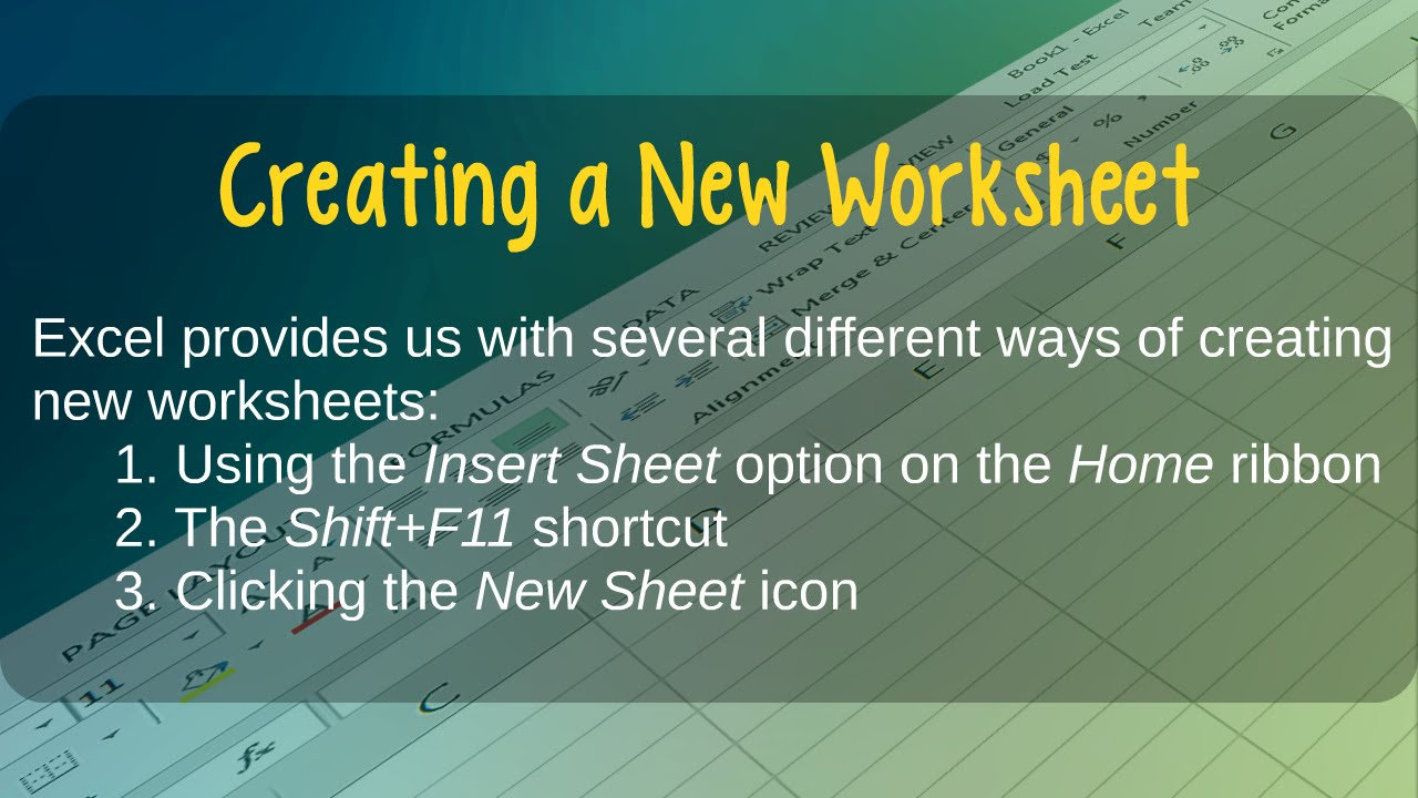 How to Create New Worksheets in Microsoft Excel - YouTube