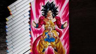 Drawing Goku Super Saiyan 4 Crimson Warrior