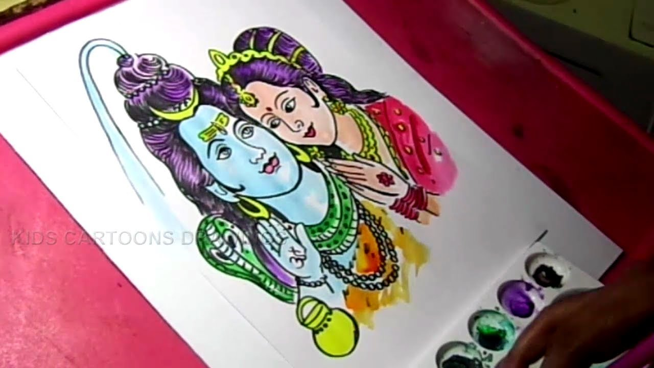 How To Draw Lord Shiva And Parvati Drawing Youtube