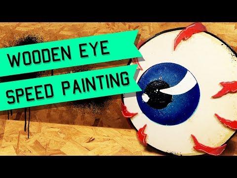 Eyeball Art Dimensional Wood Cutout Painting - Kustom Kulture - Von Dutch