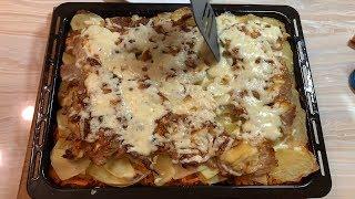 Запечена картопля  з м'ясом. Картопля по французьки. Мясо по- французски. Святкові страви