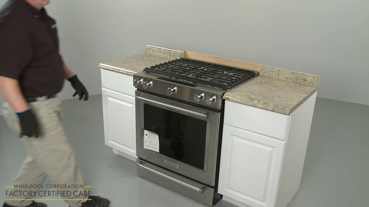 Installing A Kitchen Aid Gas Range Model Ksgb900ess Youtube
