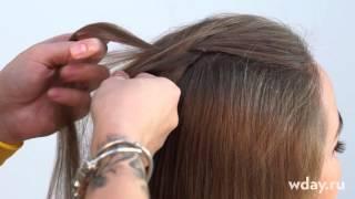 Рыбий хвост: плетение косы колосок - из двух прядей