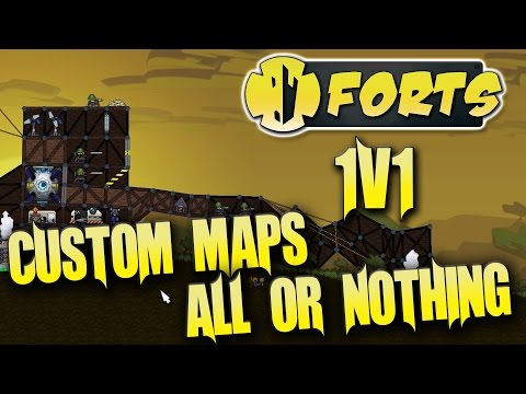 Forts Multiplayer 1v1 Gameplay Custom Map - All Or Nothing