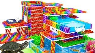 DIY - Build Modern Mansion Swimming Pool Turtle Tank With Magnetic Balls (Satisfying) - Magnet Balls