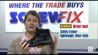 Screwfix Buyer Susie Spence Demonstrates DeWalt Driver Boot & Tough Twill Trousers