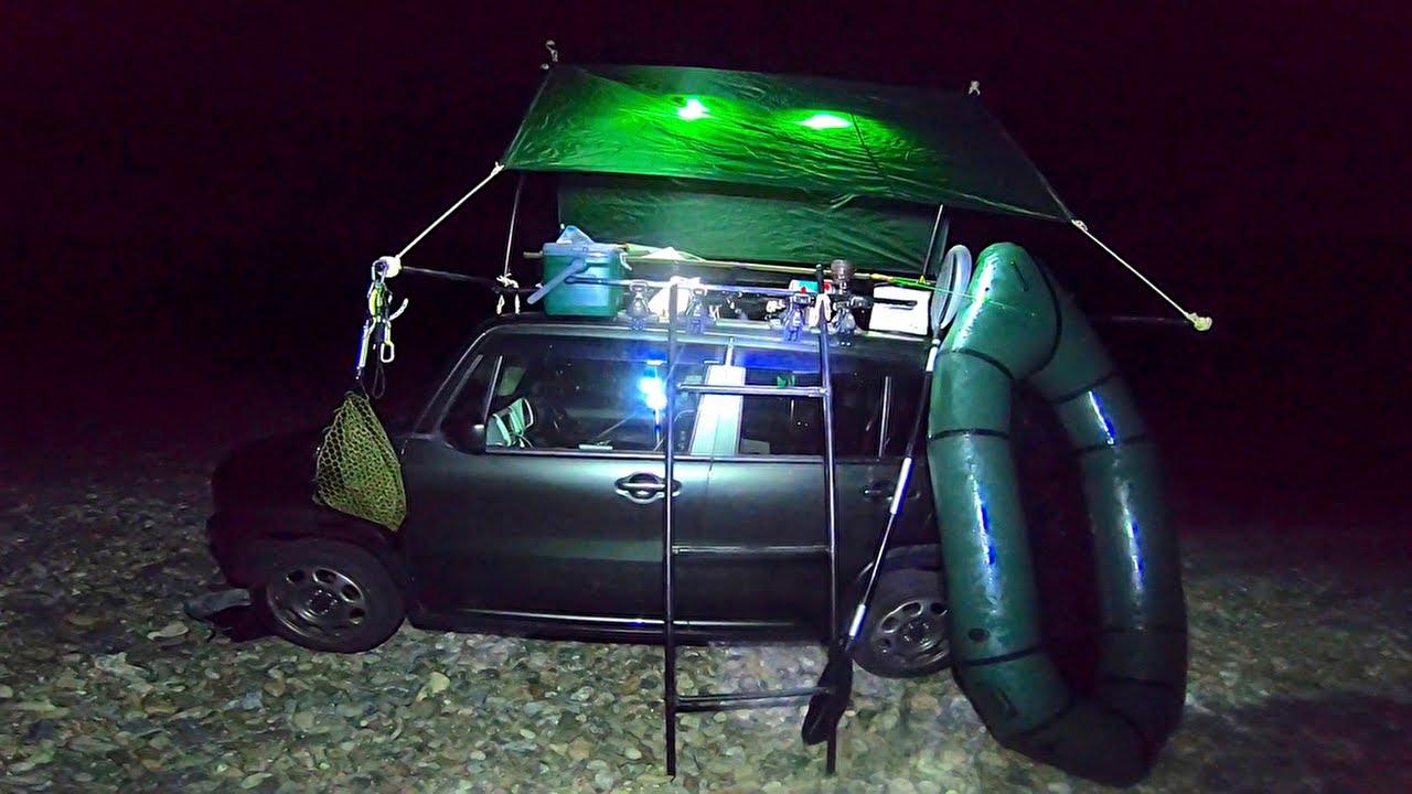 車の上に泊まって冒険と釣りとパックラフティングしたよ!【冒険家の小舟】