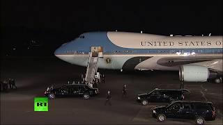 El líder estadounidense, Donald Trump, llega al aeropuerto de Singapur