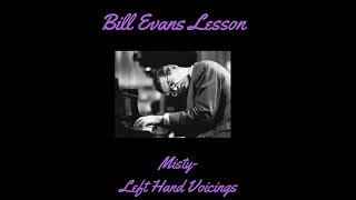 Free Jazz Piano Lessons Misty, Bill Evans Left Hand voicings