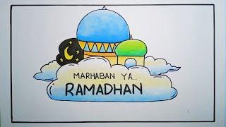 Cara menggambar poster ramadhan