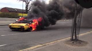 Lamborghini Miura SV catches fire in central London