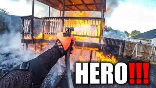 HERO BIKER SAVE HOUSE FROM BURNING DOWN
