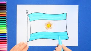 How to draw and color the National Flag of Argentina