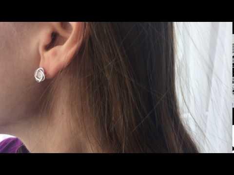 Pair of Alloy Rhinestone Love Knot Earrings  -  WHITE GOLDEN 1