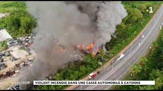 Violent incendie dans une casse automobile à Cayenne