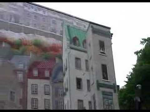 The Famous Fresco Wall Painting At Quebec Old Town Canada