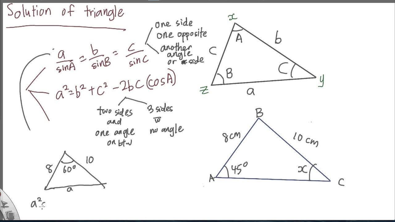 SPM - Add Maths - Form 4 - Solution of Triangle - YouTube