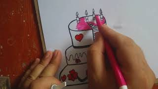 Big birthday cake ,how to draw colorful birthday cake , color learning|| kids coloring pages