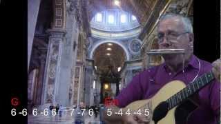 nº 011 Stand by me(Ben E King)tutorial armonica( A ) chords guitar Mundharmonika