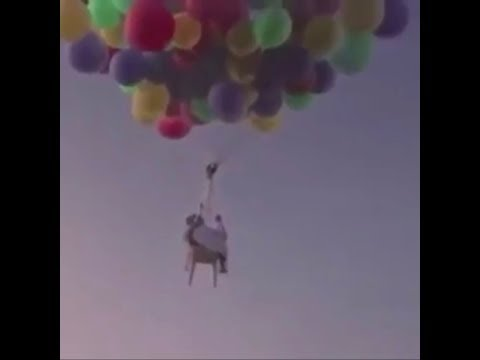 Father Flies in helium baloons from Dubai to Oman