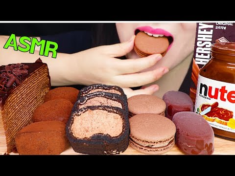 ASMR NUTELLA CHOCOLATE ICE CREAM, CREPE CAKE, MOCHI, MACARON 누텔라 초콜릿 아이스크림, 크레이프 케이크, 모찌, 마카롱 먹방