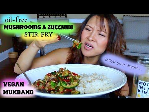 MUSHROOM & ZUCCHINI STIR FRY • Mukbang & Recipe