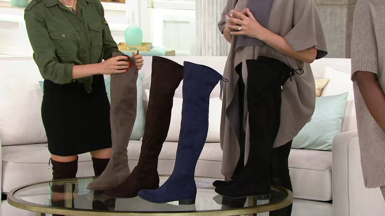 51916711443 Marc Fisher Faux-Suede Over the Knee Boots - Humor on QVC - YouTube
