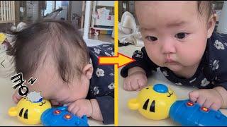 """좋아하는 장난감에 머리를 """"꿍~"""" 했을 때 아기 반응은…"""