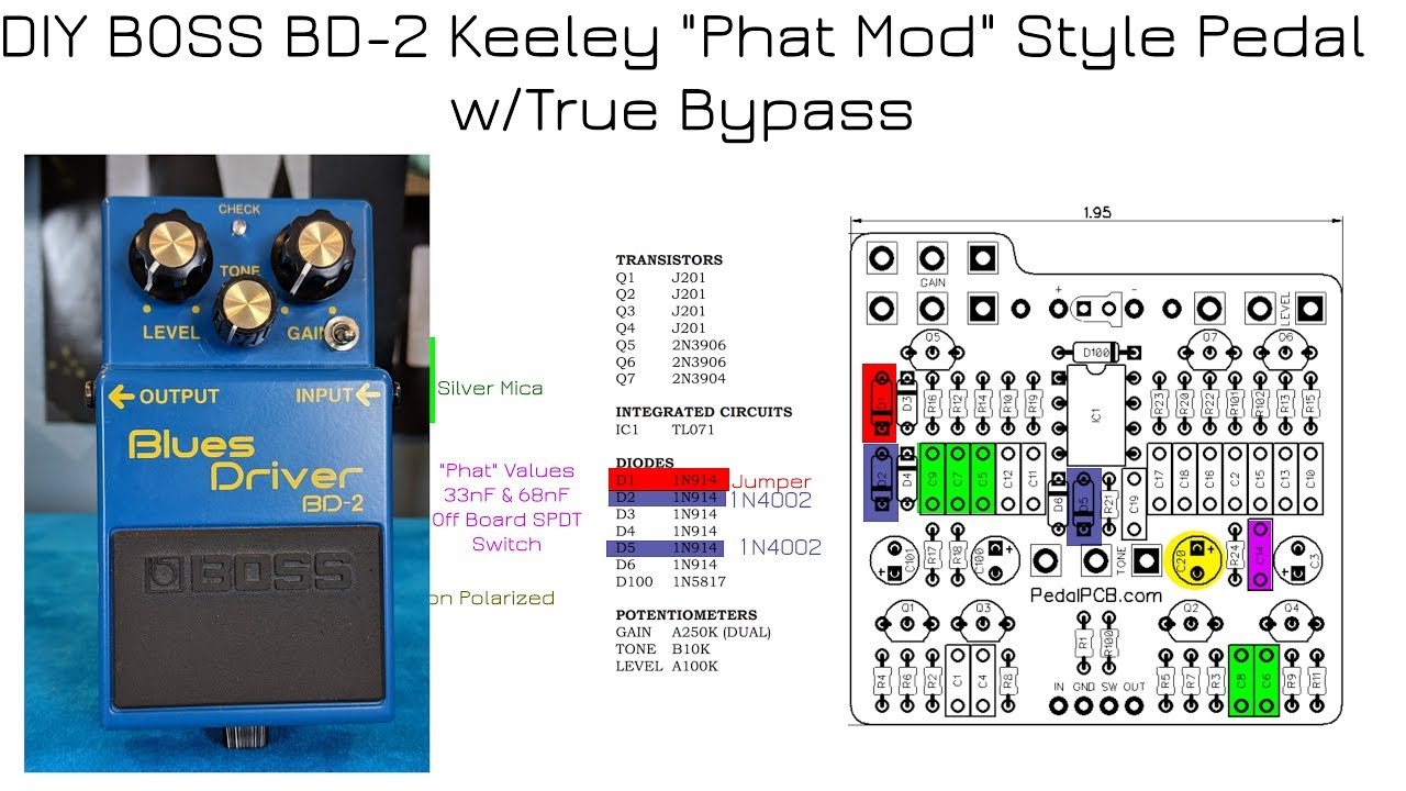 DIY Keeley Phat Mod Pedal Retrofitted in a BOSS BD-2 Enclosure - YouTubeYouTube