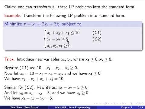 standard form linear V2-2. Linear Programming, Standard form