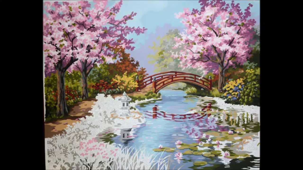 Elegant ... Japanese Garden Cherry Blossom Paintings