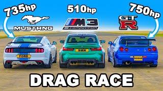 750hp Nissan Skyline R34 GT-R v 735hp Mustang v BMW M3: DRAG RACE