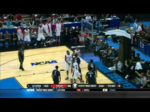 2011 NCAA March Madness Sweet 16 Connecticut - San Diego State highlights. Kemba Walker on fire!