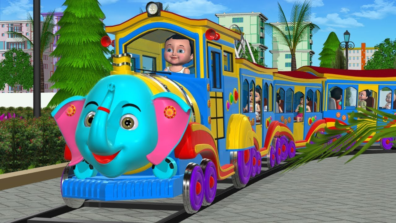 Wheels On The Train Go Round And Round - 3D Kids Songs & Nursery Rhymes for children