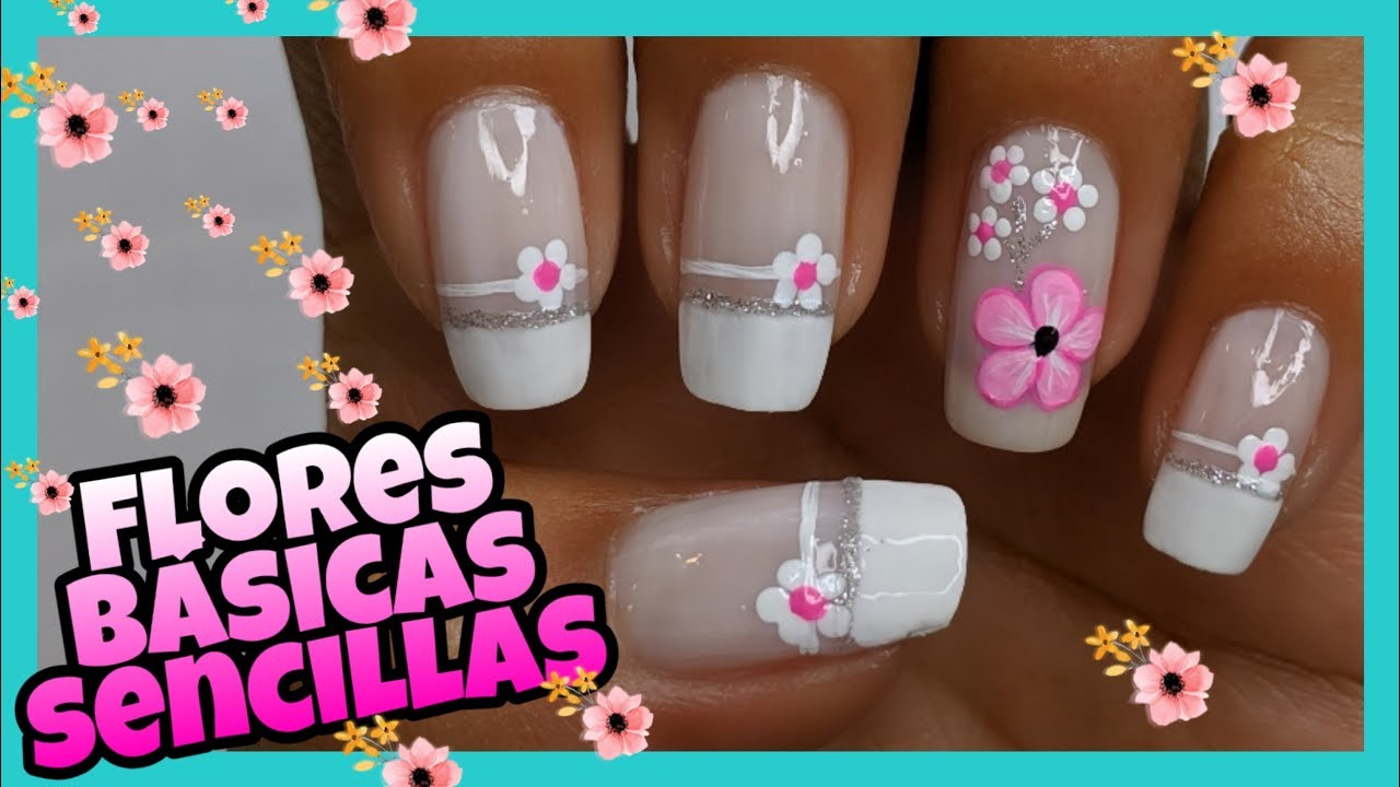 Decoración De Uñas Flores Con Puntos Y Flor Rosa Principiantes Nailart By Andy