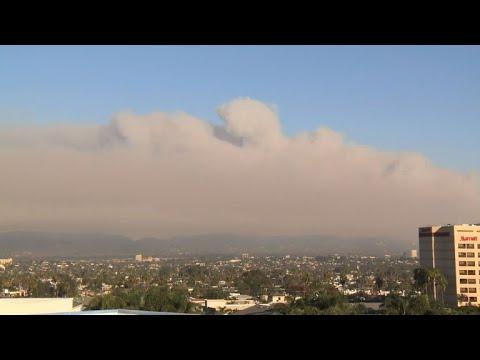 LA freeway shuts down amid raging California wildfires