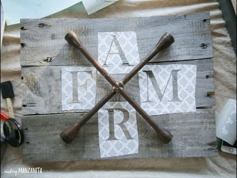 Farmhouse Style Sign Made With Repurposed Lug Wrench and Pallet Wood