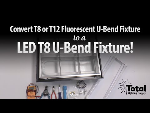 Convert T8 or T12 Fluorescent U-bend Fixture to LED T8 U-bend Fixture by Total Bulk Lighting