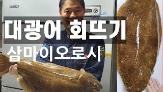 (회뜨기 달인)28년 세프의 대광어회뜨기. 광어 삼마이…