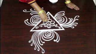 Freehand Triangular rangoli designs - Cute kolam designs - Muggulu with out dots