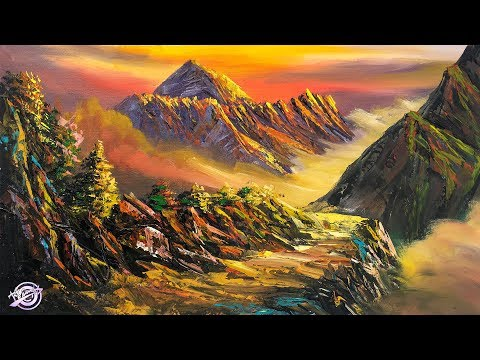 PART 2 – Painting A Beautiful Acrylic Landscape | Mountain Painting | Scenery Painting| Art Tutorial