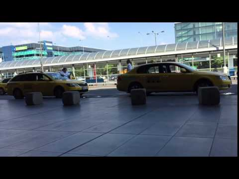 Prague airport. Taxi driver save a fuel.