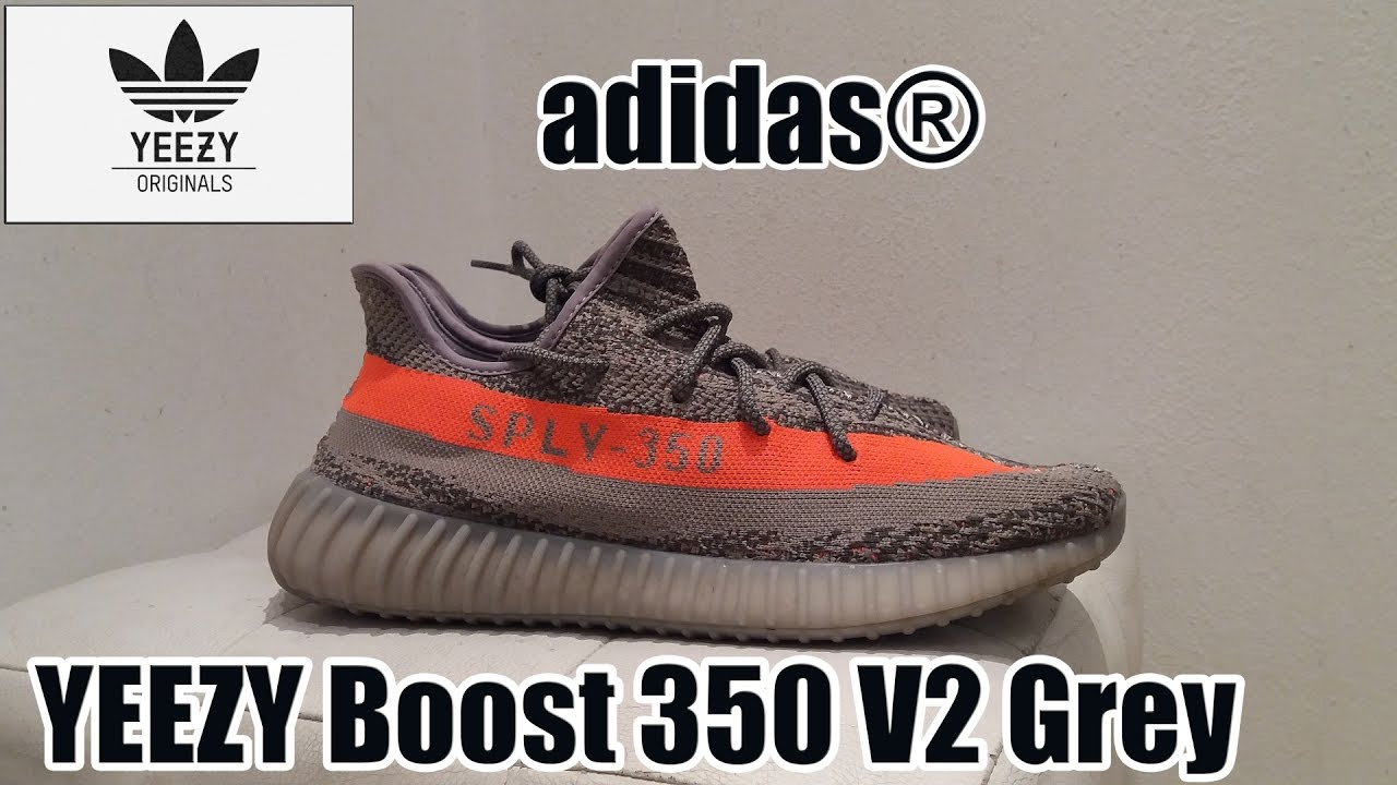 7a30104d393720 adidas® YEEZY Boost 350 V2 Grey Beluga Solar Red  shoes details + on feet